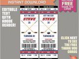 Hockey Birthday Party Invitations Templates Free Ice Hockey Ticket Invitation with Free Thank You Card Ice