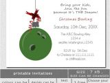Holiday Bowling Party Invitations Printable Green Bowling Ball ornament Christmas Bowling event