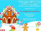 Holiday Party Invite Poem Gingerbread Decorating Christmas Holiday Party Invitation