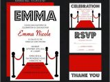 Hollywood Party Invites Printable Hollywood Bat Mitzvah Invitation Red Carpet event Rsvp