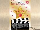 Hollywood themed Birthday Party Invitations Hollywood Birthday Invitation Hollywood by Jennyillustrations