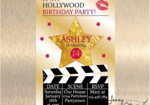 Hollywood themed Birthday Party Invitations Hollywood Birthday Invitation Hollywood by Jennyillustrations