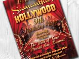 Hollywood themed Birthday Party Invitations Hollywood Party Invitations Hollywood Invitation Hollywood