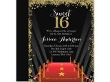Hollywood themed Birthday Party Invitations Red Carpet Hollywood Glitter Sweet 16 Birthday Invitations
