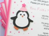 Homemade 1st Birthday Invitation Ideas Pink Penguin First Birthday Party Winter themed Baby