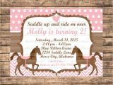 Horse themed Party Invitations Personalized Pink and Brown Horse themed Birthday Party