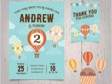 Hot Air Balloon Birthday Invitation Template Hot Air Balloon Birthday Invitation Vector Free Download