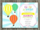 Hot Air Balloon Birthday Invitation Template Printable Girl Hot Air Balloon Birthday Invitation Kids