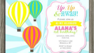 Hot Air Balloon Birthday Invitation Template Printable Girl Hot Air Balloon Birthday Invitation Kids
