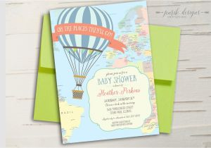Hot Air Balloon themed Baby Shower Invitations Hot Air Balloon Baby Shower Invitation Oh the Places