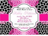 Hot Pink and Black Bridal Shower Invitations Bridal Shower and Wedding Invitations