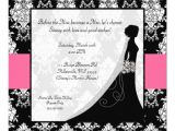 Hot Pink and Black Bridal Shower Invitations Bridal Shower Invitations Hot Pink & White Damask 5 25