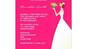 "Hot Pink and Black Bridal Shower Invitations Hot Pink and Black Bridal Shower Invitations 5"" X 7"