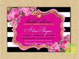 Hot Pink and Black Bridal Shower Invitations Hot Pink Gold Glitter Black Bridal Shower Invitation Hot Pink