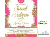 Hot Pink Quinceanera Invitations Hot Pink Gold Glitter Sweet 16 Invitation Sixteen Quince