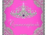 Hot Pink Quinceanera Invitations Hot Pink Tiara Quinceanera Custom Invitations Zazzle