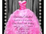 Hot Pink Quinceanera Invitations Party Dress Pearls Hot Pink Quinceanera Invitation Zazzle