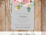 Housewarming Bridal Shower Invitations Floral Birds and Birdcages Birdhouse Baby Shower Bridal