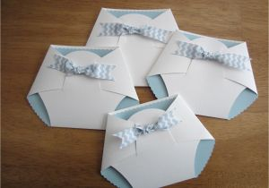 How to Make A Baby Shower Invitation Card Handmade Baby Shower Invitation Diaper Shape W Chevron