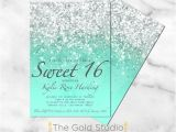 How to Make Quinceanera Invitations at Home Printable Sweet 16 Invitation Mint Green Glitter Sweet