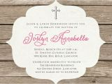 How to Make Simple Baptism Invitations Baptism Invitation Rustic Christening Invitation Girl or