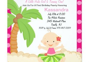 Hula Birthday Party Invitations Baby Hula Girl First Birthday Invitation Zazzle
