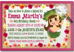 Hula Birthday Party Invitations Hula Girl Hawaiian Luau Invitations Hula Girl Hawaiian