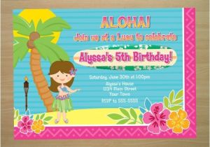 Hula Birthday Party Invitations Hula Girl Luau Birthday Invitation Digital by Squigglesdesigns