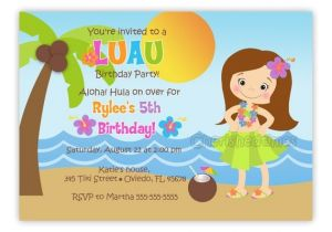 Hula Birthday Party Invitations Hula Girl or Boy Birthday Party Invitation You Print