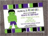 Hulk Birthday Party Invitation Template Hulk Superhero Birthday Invitations with by
