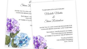 Hydrangea Wedding Invitation Template Purple Blue Hydrangea Wedding Invitation Diy Printable