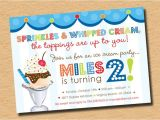 Ice Cream Sundae Party Invitations Ice Cream Sundae Birthday Party Invitation Red Blue