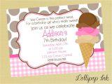 Ice Cream theme Party Invitations Ice Cream Birthday Invitations Best Party Ideas