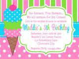 Ice Cream theme Party Invitations Printable Birthday Invitations Girls Ice Cream Party