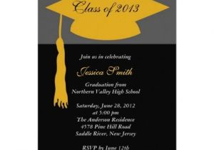 Inexpensive Graduation Party Invitations Black Gold Grad Cap Graduation Party Invitations Cheap