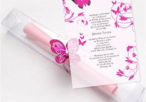 Inexpensive Quinceanera Invitations Quinceanera Scroll Invitations Kit butterflies Box