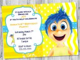 Inside Out Party Invitations Joy Inside Out Birthday Invitation