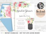 Instant Download Bridal Shower Invitations Mason Jar Bridal Shower Invitation Instant Download Bridal