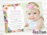 Invitation Card for Baptism Of Baby Girl Watercolor Flowers Christening Invitation Girl