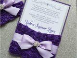 Invitation for A Quinceanera Purple Rosette Quince Invitation Purple and Silver Swarovski