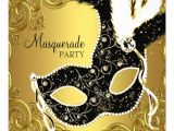 Invitation for Masquerade Party Black Gold Mask Masquerade Ball Party Custom Announcements