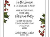 Invitation for the Christmas Party Holly Berry Garland Holiday Christmas Party Invitations