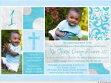 Invitation Wording for 1st Birthday and Baptism Christening Blue 1st Birthday Card Two