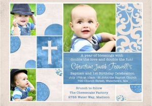 Invitation Wording for Baptism and Birthday Shabby Chic Baptism & Birthday Invitation Custom S