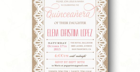 Invitations for A Quinceanera Burlap and Lace Quinceanera Invitation Quinceanera Invites
