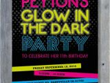 Invitations for Glow In the Dark Party Glow In the Dark Party Invitation for Birthday Black