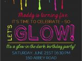 Invitations for Glow In the Dark Party Printable Glow In the Dark theme Party Invitation