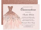 Invitations for Quinceanera Cheap Rose Gold Sparkle Dress Quinceanera Invitation