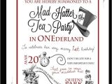 """Invitations to A Mad Hatter Tea Party Tea Party In """"one""""derland or Just Wonderland if It S Not"""