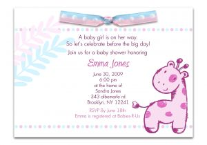 Invite to Baby Shower Wording Baby Shower Invitation Wording for A Girl theruntime Com